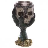 Zielona Smocza Łapa trzymająca czaszkę - kielich dekoracyjny