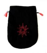 Podwójny Pentagram - woreczek czarna sakiewka na karty Tarota