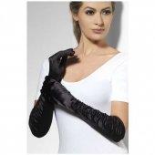 Rękawiczki satynowe długie, kolor czarny