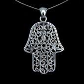 amulet Hamsa - duży wisior z łańcuszkiem 65 cm
