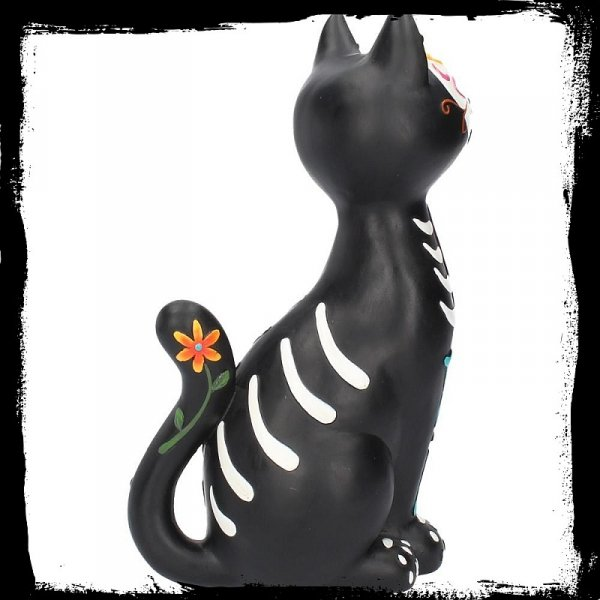 Sugar Kitty - figurka czarnego kota ozdobionego w stylu meksykańskiej czaszki cukrowej