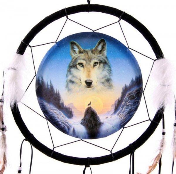 Wilk Przewodnik Duchowy - łapacze snów z wilkami