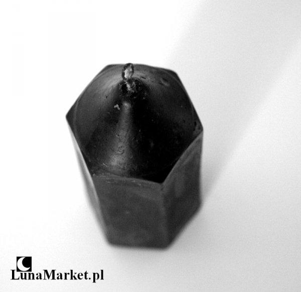 świeca całkiem czarna, magiczna do rytuałów - wysokość 12 cm