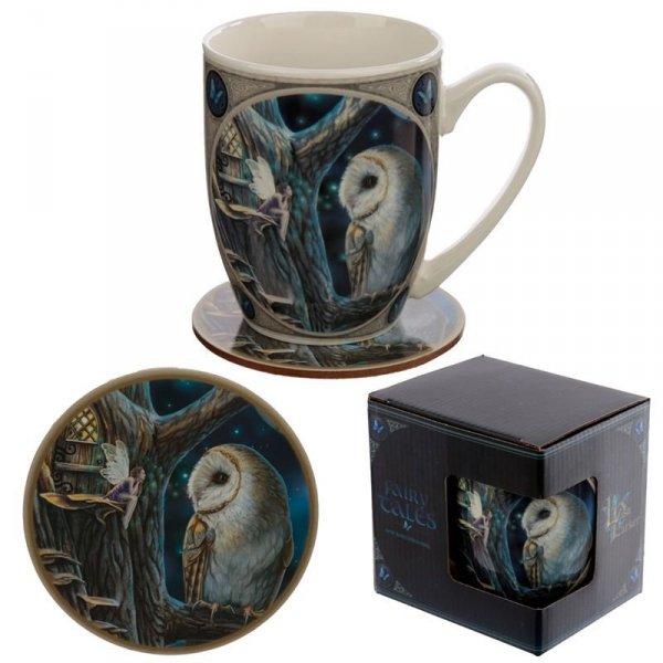 Sowa i Wróżka - magiczny porcelanowy kubek z podkładką projekt: Lisa Parker