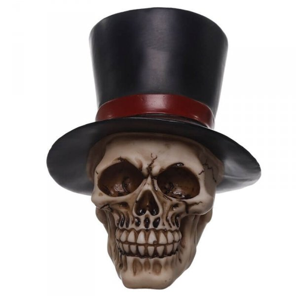 figurka dekoracyjna czaszka w cylindrze - Straszliwy Pan Młody