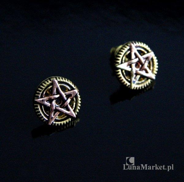 """kolczyki mechaniczny pentagram, pentakl """"Penta Meridia"""" z serii steampunk """"Engineerium"""" Anne Stokes"""