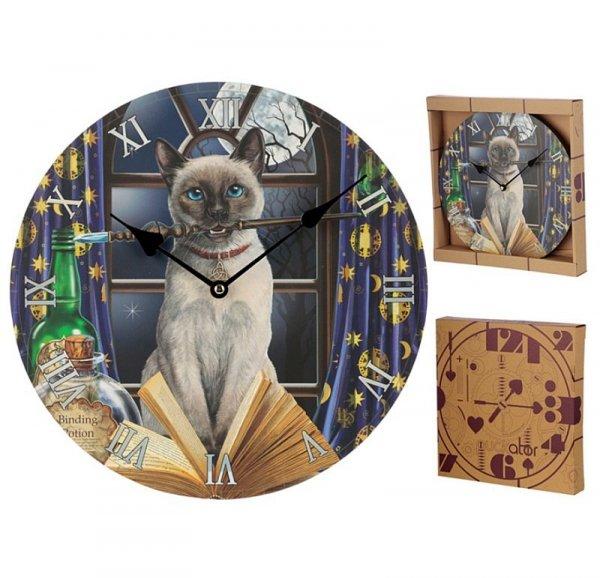 zegar z nadrukiem - Kot i Magiczna Różdżka, projekt Lisa Parker