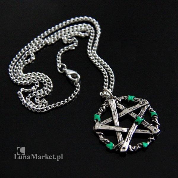 naszyjnik Pentagram Pana pentakl z listkami - magiczna biżuteria, talizman: Ochrona przed oszustwami