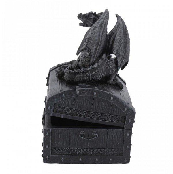 Czarny Smok - otwierana szkatułka na biżuterię, ze smokiem na wieczku