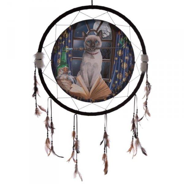 """duży indiański łapacz snów z obrazkiem Lisy Parker """"Hokus Pokus Kot"""" 60cm"""