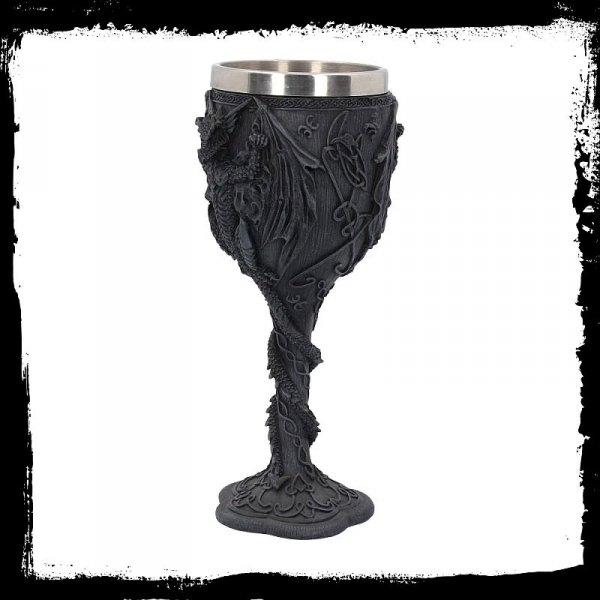 gotycki kielich puchar do wina ze smokami smoczy pomysł na prezent gadżety na larpa