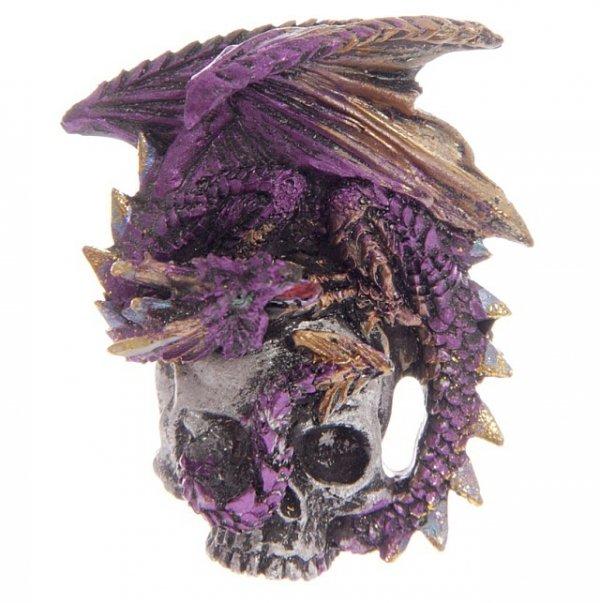 fioletowy smok na czaszce - magnes na lodówkę