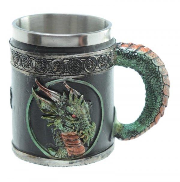 kufel z zielonym smokiem gadżety i prezenty ze smokami smoki