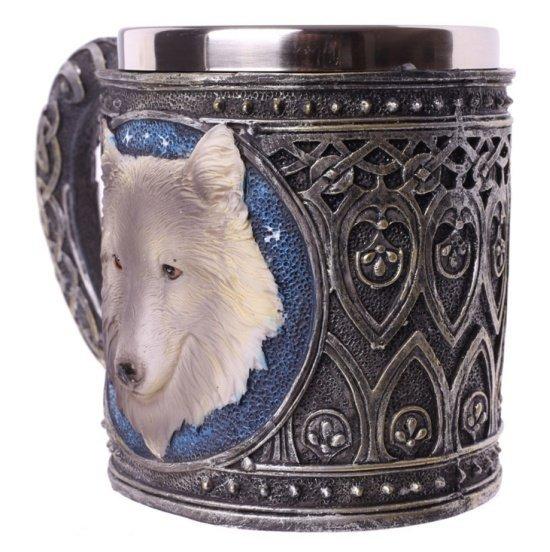 Kufel Szary Wilk - kufel dekoracyjny z wilkiem