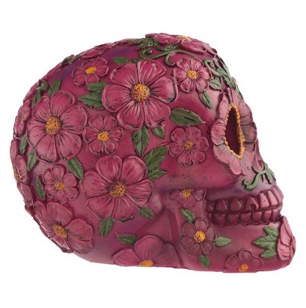 figurka - różowa meksykańska Czaszka w kwiaty