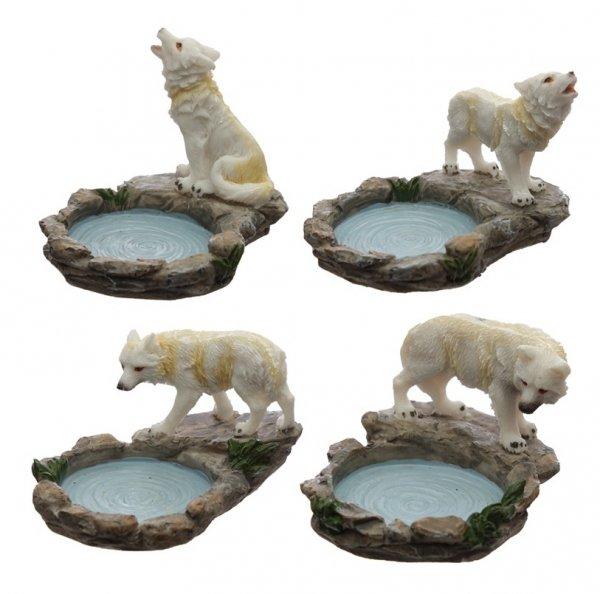 mały świecznik Biały Wilk Strażnik Północy - podstawka na świeczkę podgrzewacz