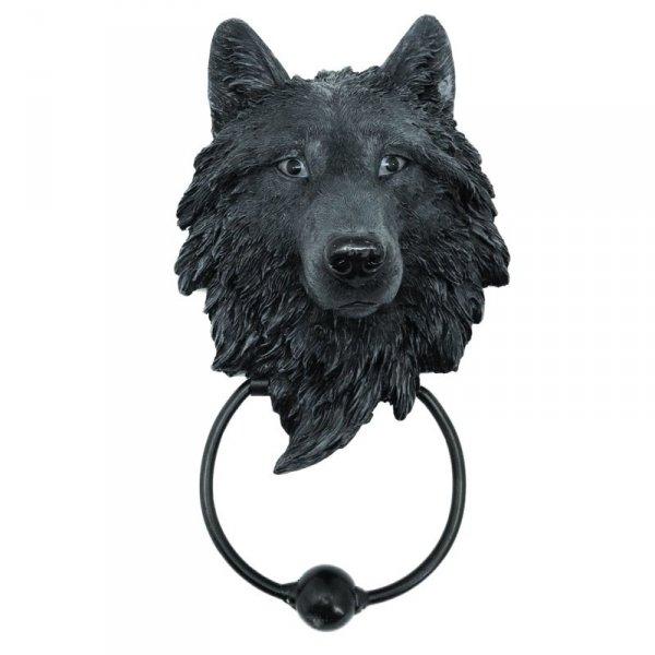 gadżety i prezenty z wilkami - kołatka na drzwi z głową wilka Wilk Mroczny Opiekun