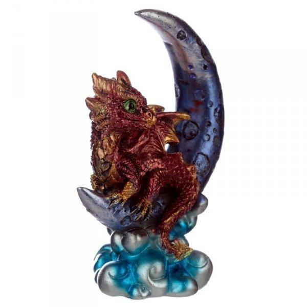figurka w stylu fantasy - uroczy czerwony Smok na Księżycu