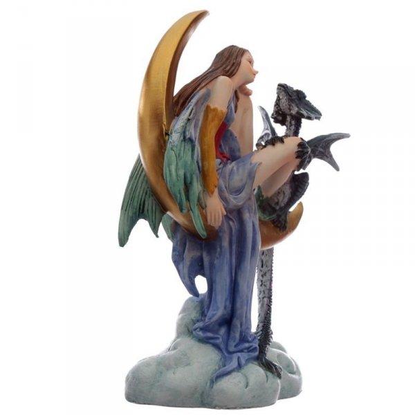 Elf Wróżka ze Smokiem na Księżycu - figurka w stylu fantasy