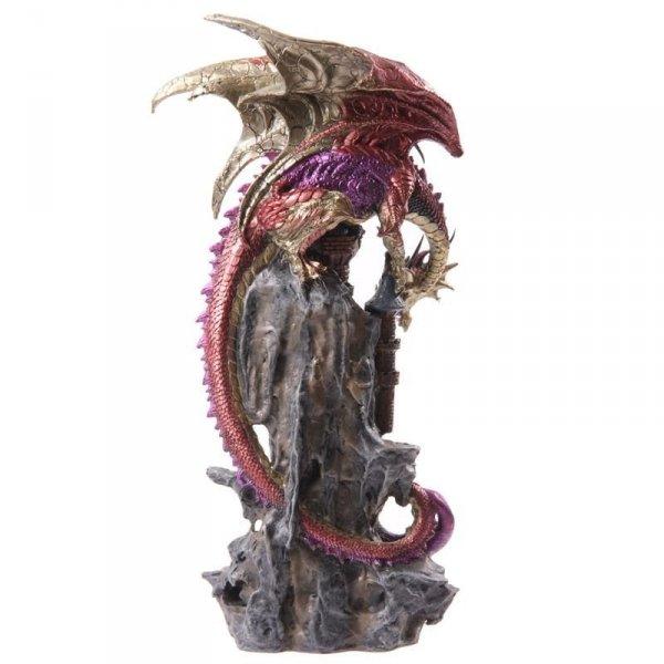 """duża figurka w stylu fantasy 47cm """"Smoczy Zamek"""" czerwony smok na zamku"""