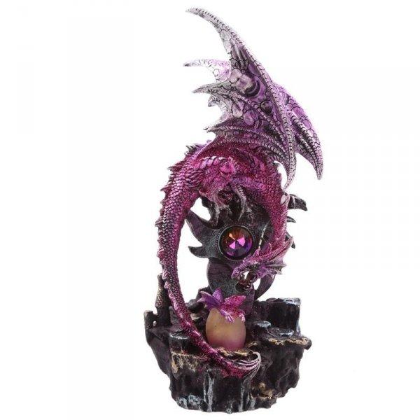 figurka w stylu fantasy - Fioletowa Smoczyca i wykluwający się z jaja mały smok