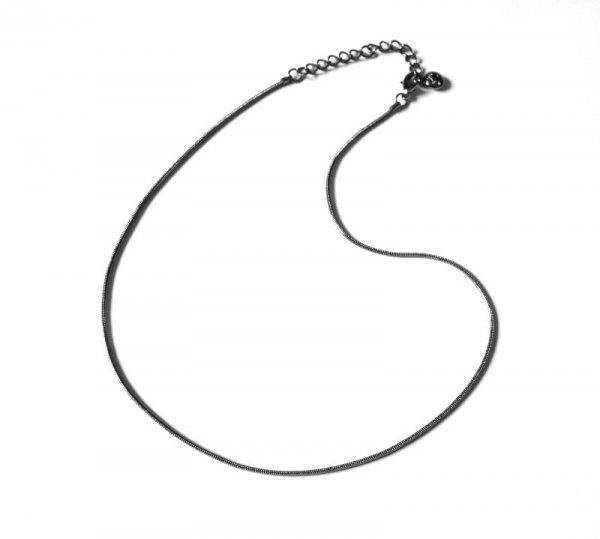 łańcuszek z zapięciem - prosta linka 40 cm, w kolorze czarny hematyt