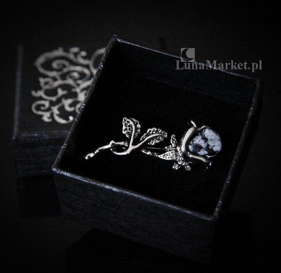 Czarna Róża - broszka z naturalnym obsydianem