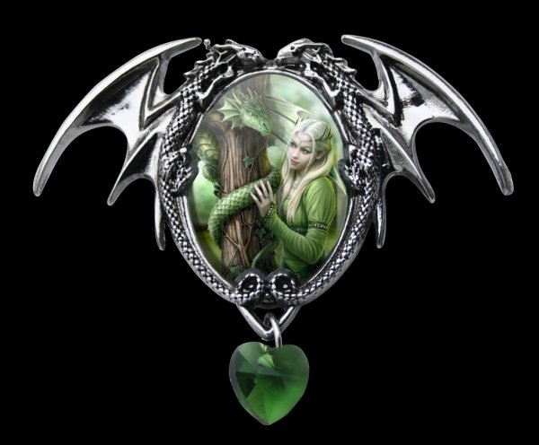 """gotycka kamea zielona z elfem i smokiem - Kindred Spirits Anne Stokes """"Pokrewne Dusze"""""""