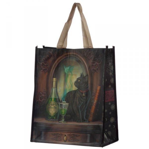 torebka zakupowa z kotem - Kot i Absyntowa Wróżka, projekt: Lisa Parker