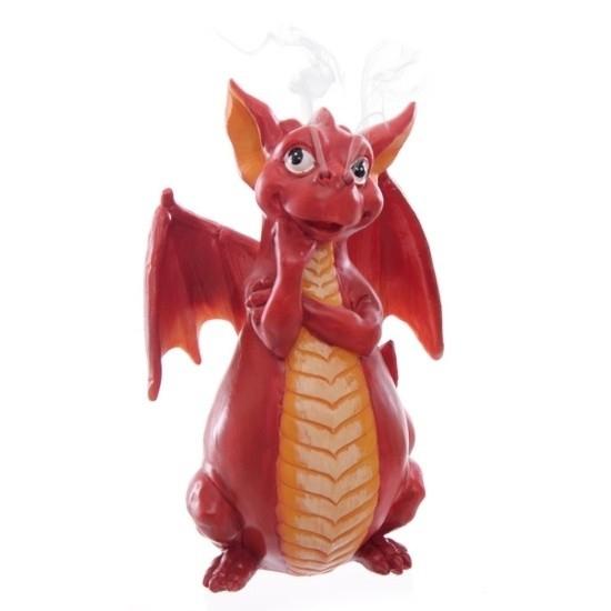czerwony smok figurki fantasy podstawka do kadzideł smoczy gadżet