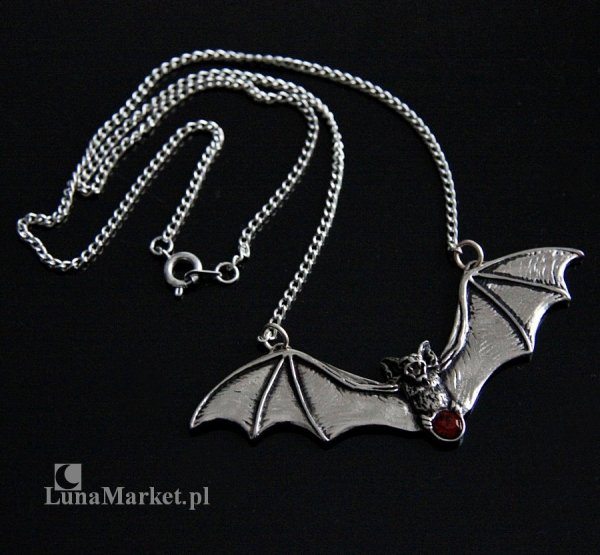 """naszyjnik z nietoperzem """"Zotz"""" - biżuteria gotycka, zawieszka z łańcuszkiem, talizman: Ostrzeżenie przed niebezpieczeństwem"""