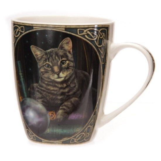 Magiczny Kot Wróżbita za szklaną kulą - kubek z nadrukiem, projekt: Lisa Parker