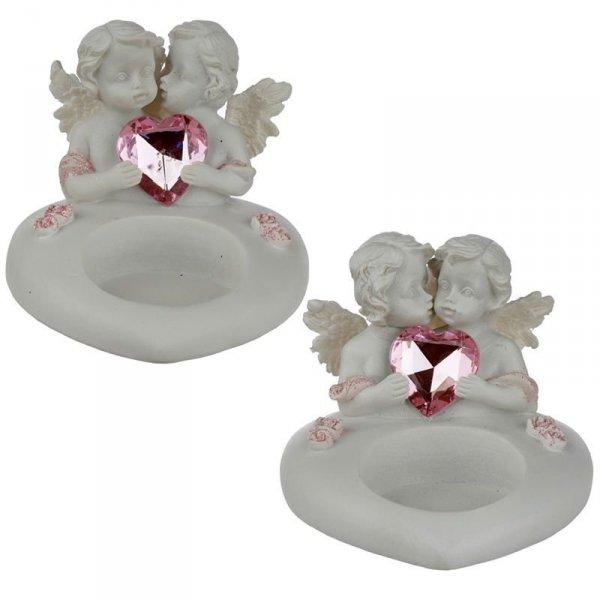świecznik Dwa Aniołki z Kryształowym Sercem - Peace of Heaven Sweetheart Kisses