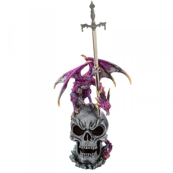 figurka fantasy Smok na Czaszce z Mieczem - nożyk do listów