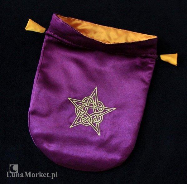 fioletowa sakiewka, satynowy woreczek na karty Tarota - Celtycki Pentagram