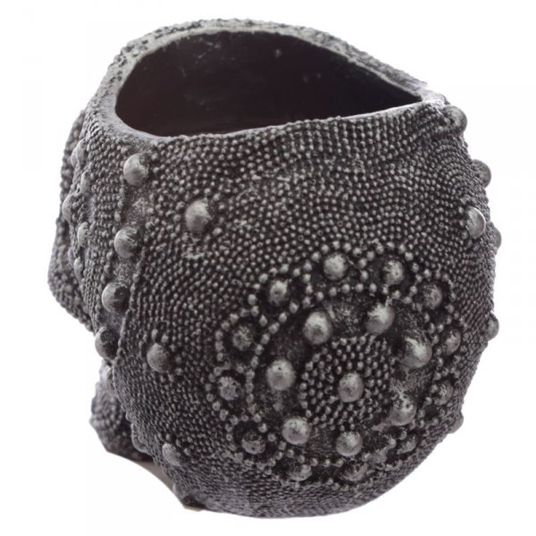 czarno-srebrna Czaszka ozdobiona koralikami - świecznik na podgrzewacz