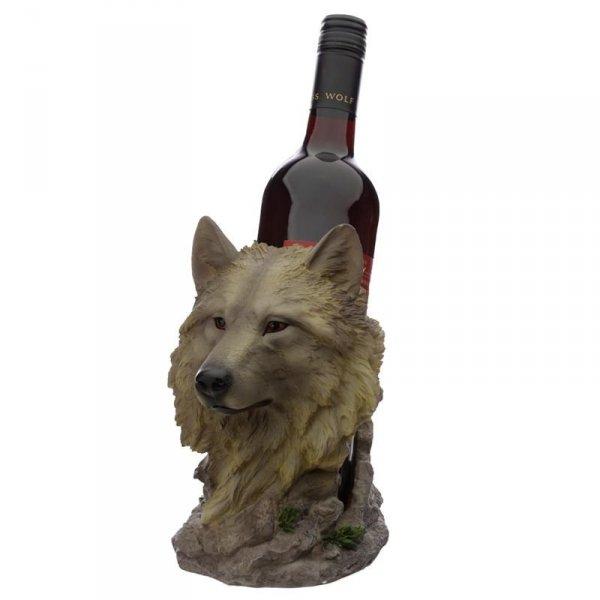 """Wilk """"Strażnik Północy"""" stojak do wina, podstawa na butelkę"""