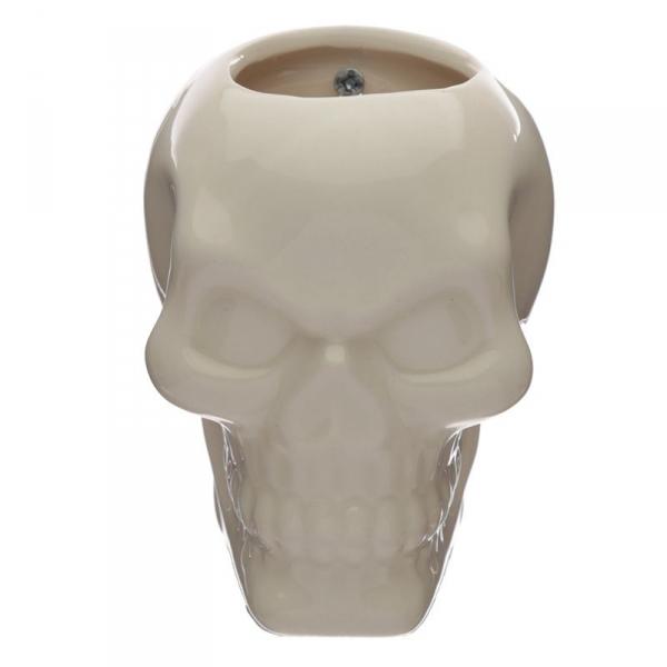 biała Czaszka - ceramiczny pojemnik, doniczka na ścianę