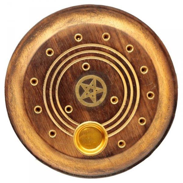 okrągła podstawka na kadzidła długie i stożki - Pentagram - kadzielniczka z drzewa mango