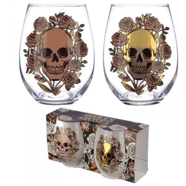 szklanki do drinków z czaszkami, komplet 2 szt - Czaszki i Róże