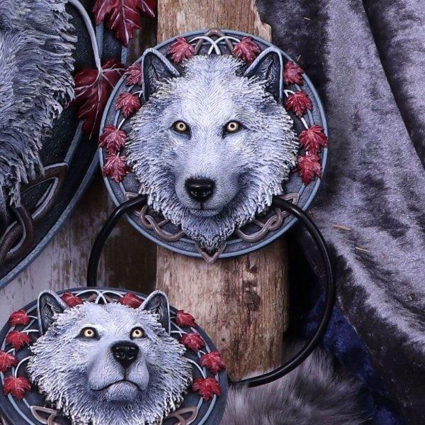 """ozdobna kołatka na drzwi """"Wilk jesienny Opiekun"""" Guardian of the Fall, projekt Lisa Parker"""