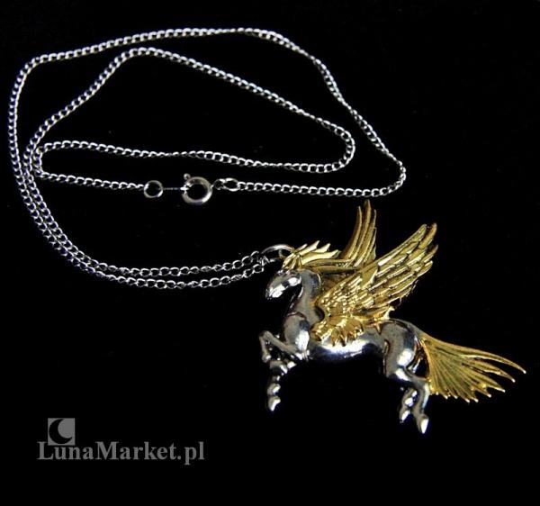 """naszyjnik """"Pegaz"""" z serii: Bestiariusz, biżuteria magiczna i gotycka, talizman zrozumienia boskości"""