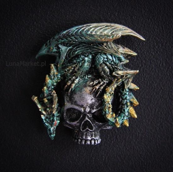 zielony smok na czaszce - magnesy ze smokami