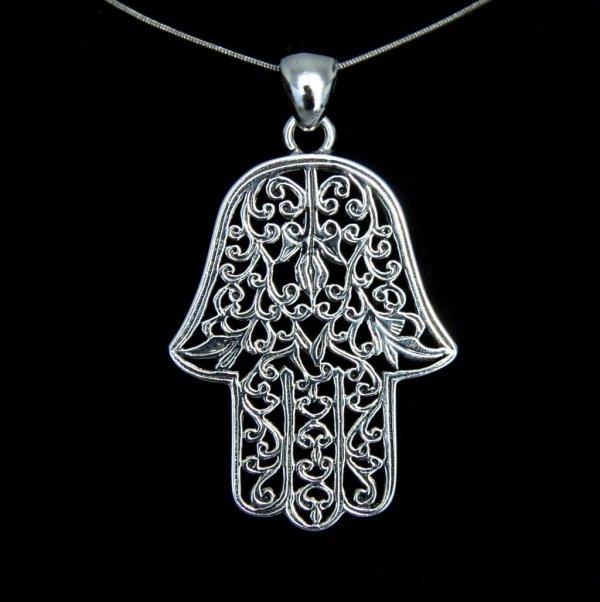 Ręka Boga, Ręka Fatimy, Ręka Miriam, Hamsa - amulet ochronny, wisior z łańcuszkiem
