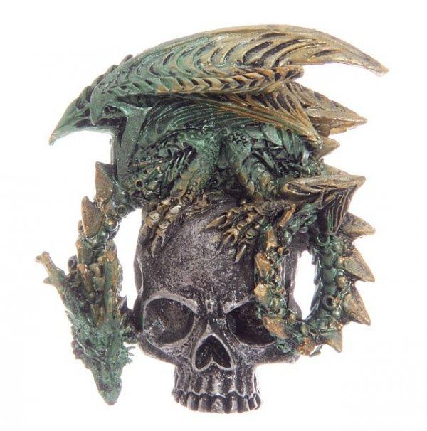 zielony smok ze srebrna czaszką - magnes na lodówkę
