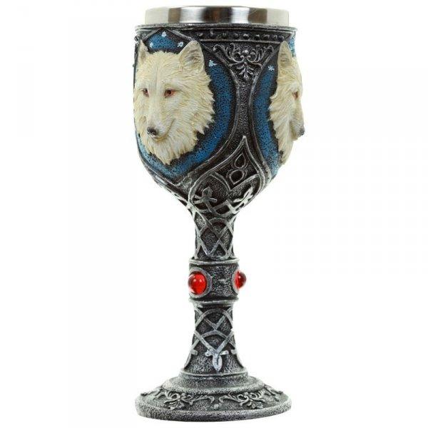 dekoracyjny kielich do wina - Biały Wilk