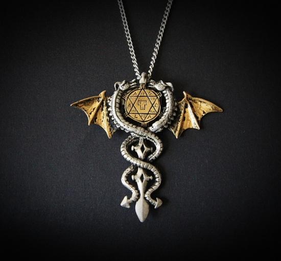 Smoczy Amulet Ochronny - magiczny naszyjnik ze smokami