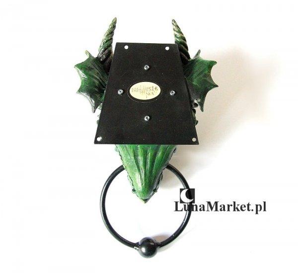gadżety i prezenty ze smokami: Kołatka na drzwi - głowa zielonego smoka