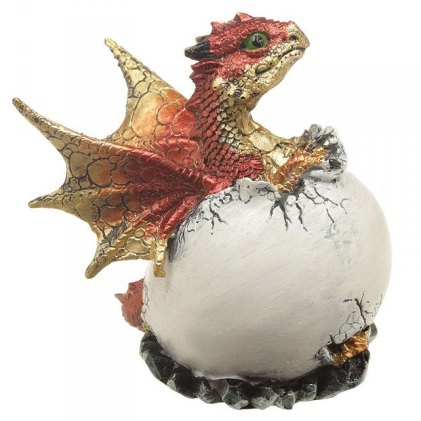 figurki w stylu fantasy - Jajo Smoka z Kryształem i Czerwone Smoczątko
