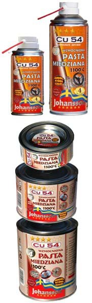 Wzmocniona pasta montażowa miedziana, miedziowa  JOHANSSON Cu 54 spray 400ml